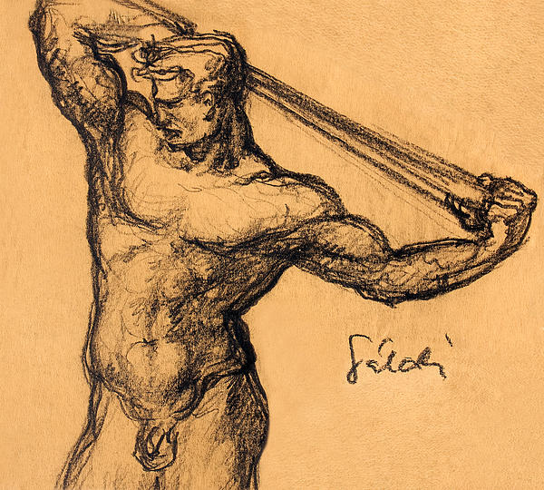 Ancient Drawing - Nude Men by Odon Czintos
