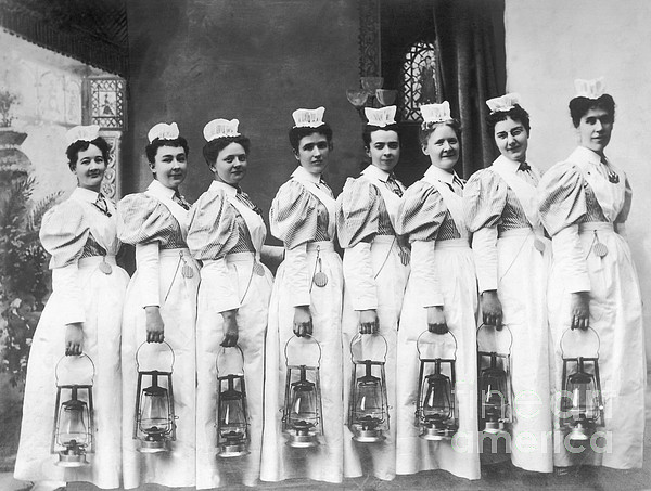 History Photograph - Nurses On Night Rounds 1899 by Science Source