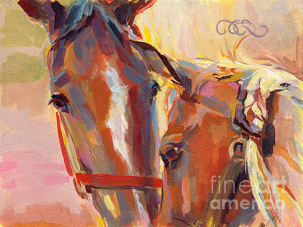 Paint Horse Painting - Nuzzling Hope by Kimberly Santini