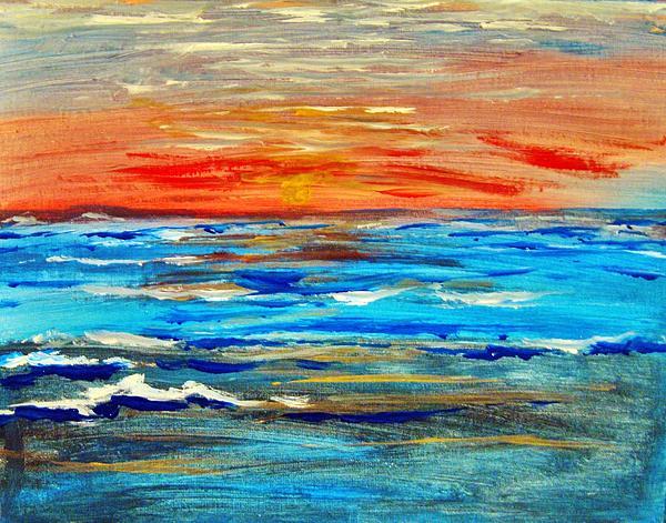 Ocean Sunset Painting - Ocean Sunset by Amanda Dinan