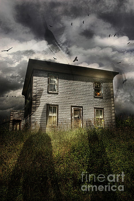 Aged Photograph - Old Ababdoned House With Flying Ghosts by Sandra Cunningham