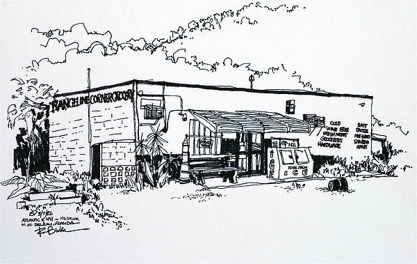 Old Grocery Store - W. Delray Beach Florida Drawing by Robert Birkenes