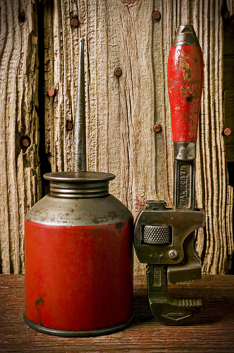 Old Photograph - Old Oil Can And Wrench by Garry Gay