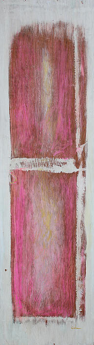 Acrylic Painting - Old Pink Kitchen Door Emanating Light by Asha Carolyn Young