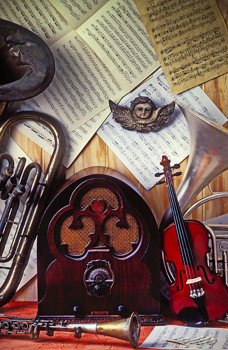 French Horn Photograph - Old Radio And Music Instruments by Garry Gay
