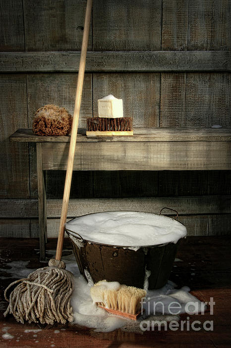 Antique Photograph - Old Wash Bucket With Mop And Brushes by Sandra Cunningham