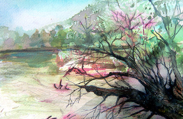 Landscape Painting - On The River by Mindy Newman