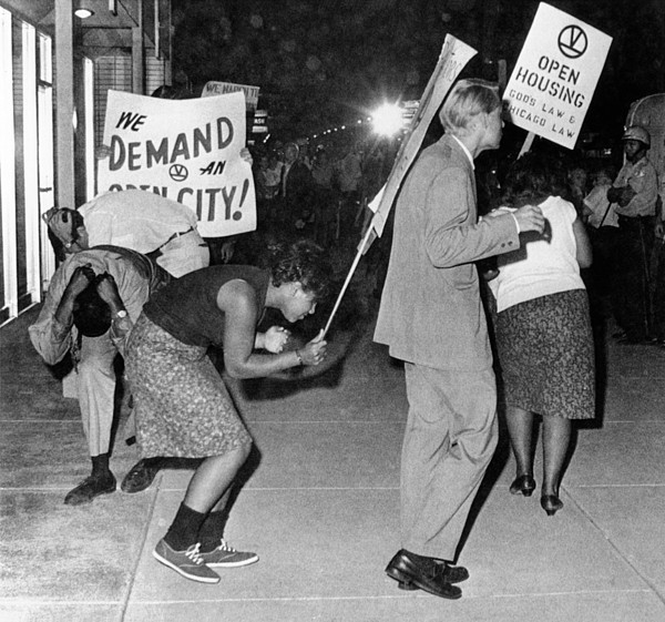 History Photograph - Open Housing Demonstrators Attacked by Everett