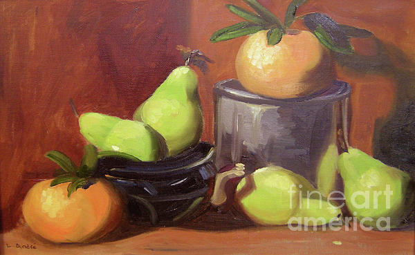 Still Life Painting - Orange Pears by Lilibeth Andre