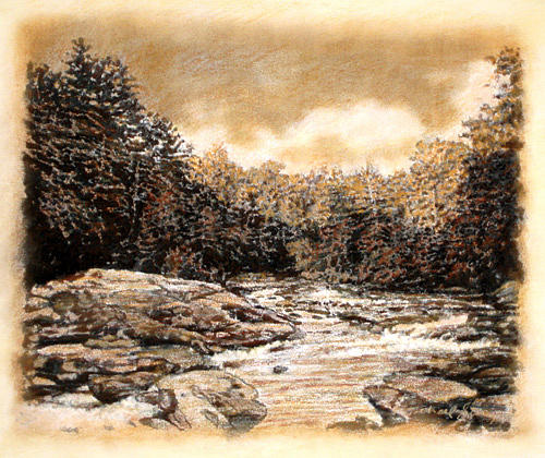 Boulders Drawing - Original Chattooga Boulders by Michael Story