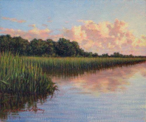 Marsh Scene Painting - Original Cloud Mass Over Savannah by Michael Story