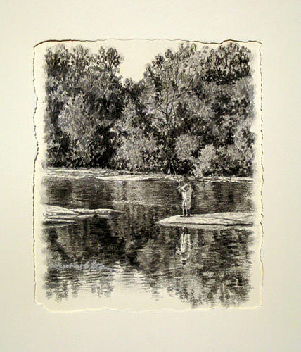 River Scenes Drawing - Original Fishing The Saluda by Michael Story