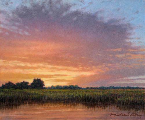 Marsh Scenes Painting - Original Floodplain At Sunset by Michael Story