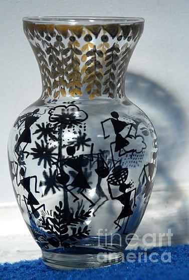 Warli Painting Glass Art - Original Glass Vase Tribal Home Decor by Subhash Limaye