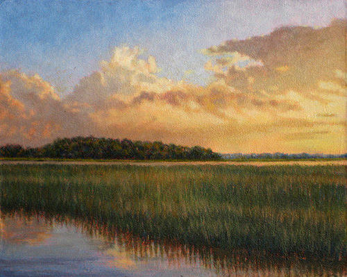 Marsh Scenes Painting - Original Golden Impressions by Michael Story