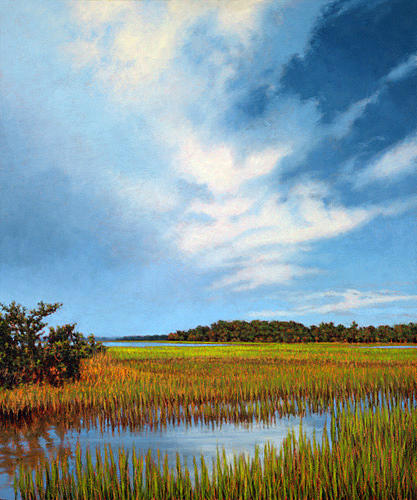 Marsh Scenes Painting - Original Light Through The Clouds by Michael Story