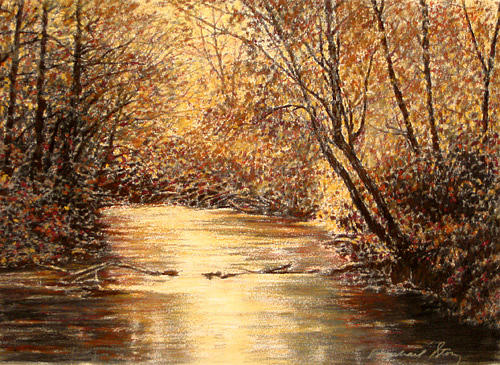 River Scenes Painting - Original Light Through The Trees by Michael Story