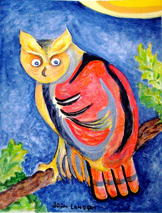 Bird Painting - Owl With Attitude by Joan Landry