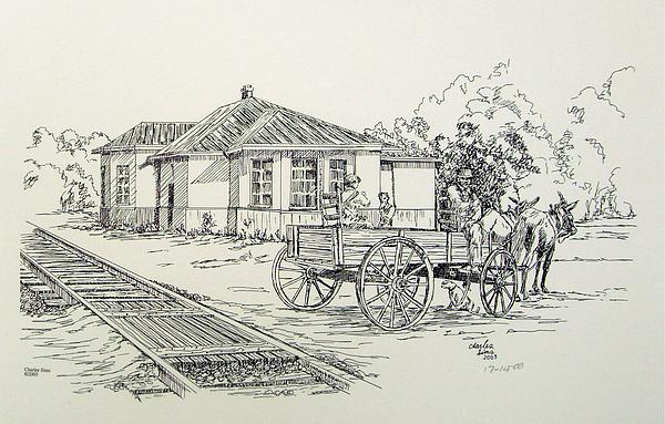 Building Drawing - Ozark Depot by Charles Sims