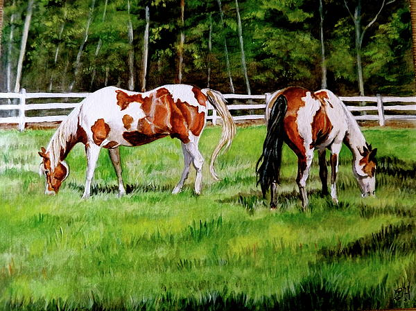 Horse Painting - Paint The Fields by Crystal  Harris-Donnelly