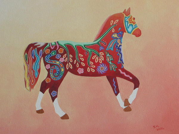 Mexico Painting - Painted Horse B by Sonia Stiplosek