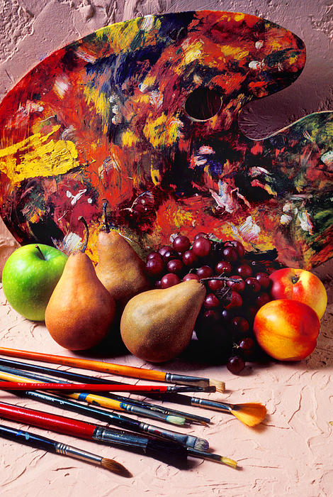 Painters Palette Brushes  Fruit Photograph - Painters Palette  by Garry Gay