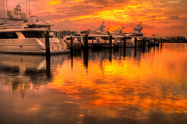 Boats Photograph - Palm Beach Harbor Glow by Debra and Dave Vanderlaan