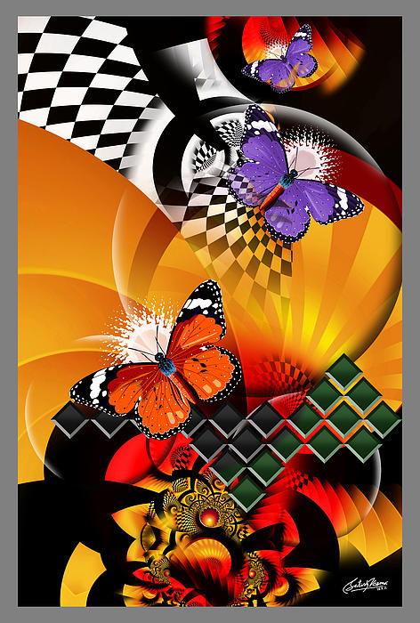 Butterflies Mixed Media - Papillon Pachouli by Satish Verma