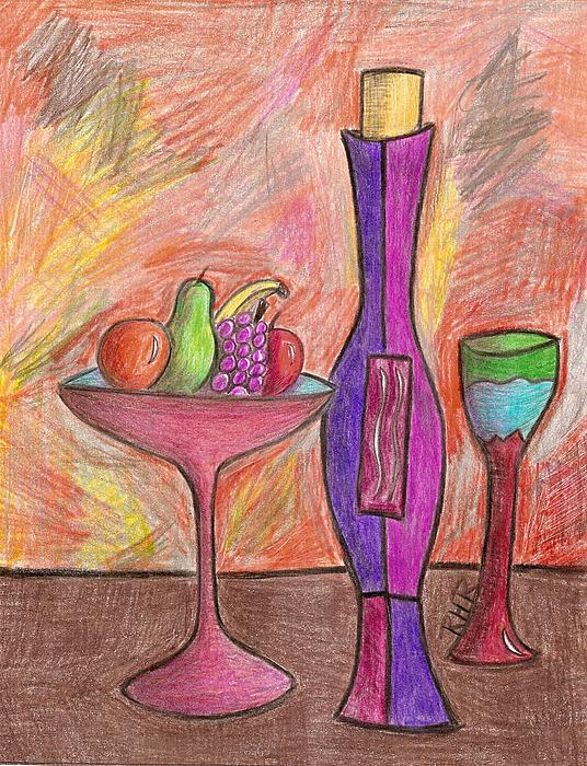 Fruit Bowl Drawing - Party Of One by Ray Ratzlaff