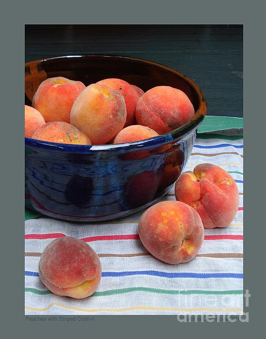 Still Life Photograph - Peaches With Striped Cloth-ii by Patricia Overmoyer
