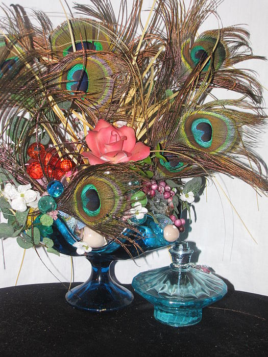 Feathers Photograph - Peacock Feather Center Piece In Blue Glass by HollyWood Creation By linda zanini