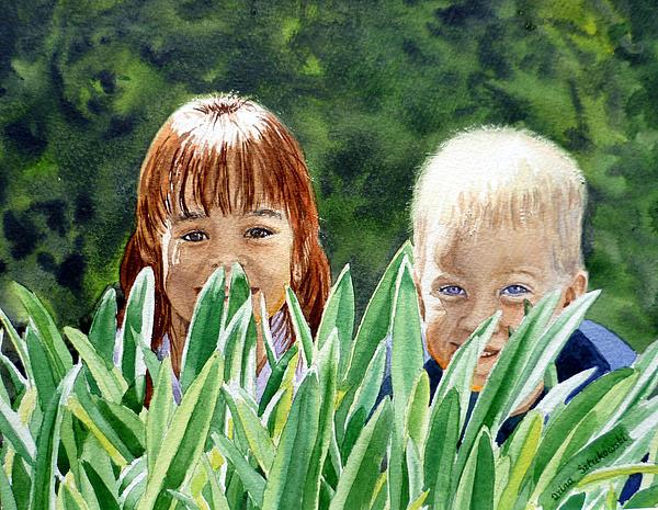 Watercolor Painting - Peekaboo by Irina Sztukowski