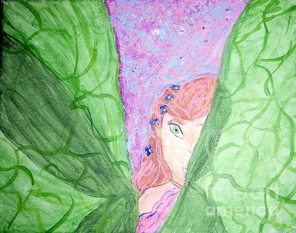 Fairy Painting - Peeking Fairy  by Elizabeth Arthur