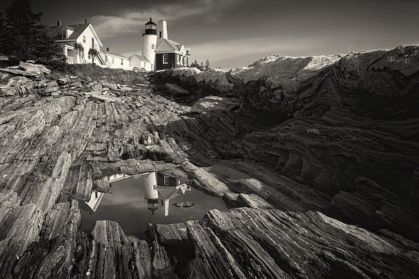B & W Photograph - Pemaquid Point Reflection by George Oze