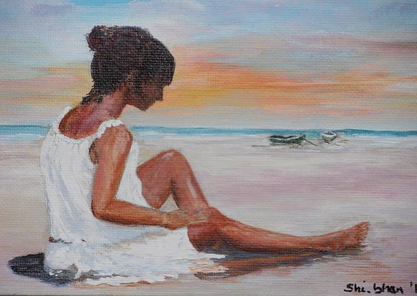 Beach Painting - Pensive 1 by Siobhan Lawson