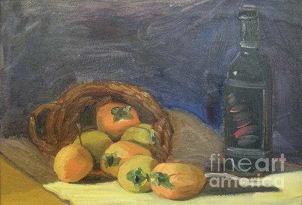 Still Life Painting - Persimos Y Vino by Lilibeth Andre