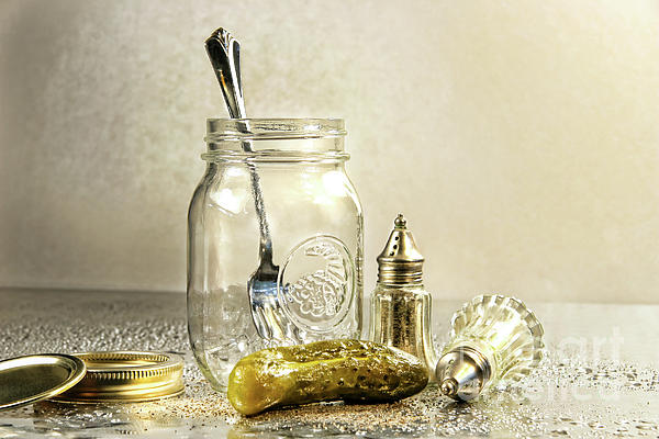 Background Photograph - Pickle With A Jar And Antique Salt And Pepper Shakers by Sandra Cunningham