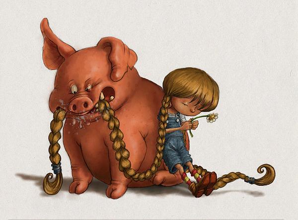 Pig Digital Art - Pig Tales Chomp by Andy Catling