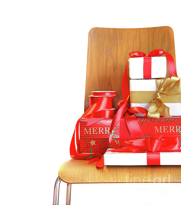 Chair Photograph - Pile Of Gifts On Wooden Chair Against White by Sandra Cunningham