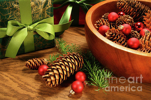 Background Photograph - Pine Cones And Christmas Balls  by Sandra Cunningham