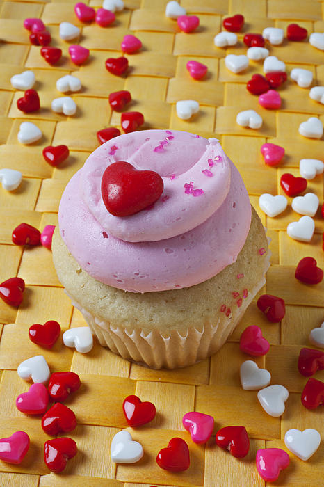 Cupcake Photograph - Pink Cupcake With Candy Hearts by Garry Gay