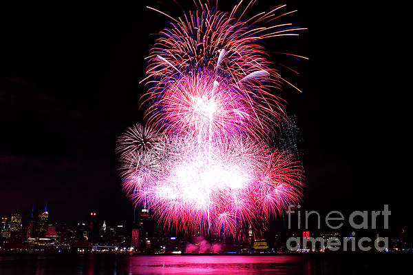 Manhattan Photograph - Pink Fireworks At Nyc by Archana Doddi