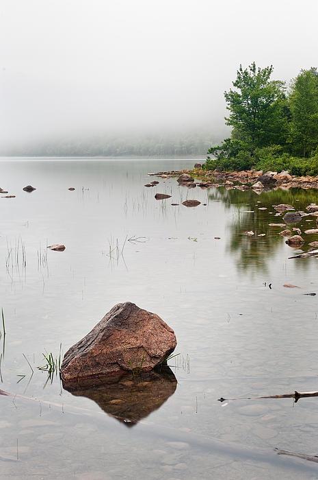Maine Photograph - Pink Granite In Jordan Pond At Acadia by Steve Gadomski