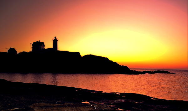 Nubble Lighthouse Photograph - Pink Nubble by Emily Stauring