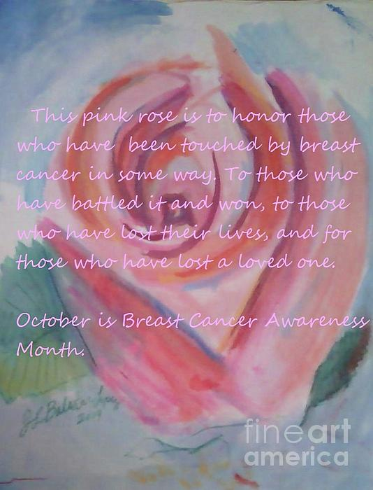 Pink Rose Breast Cancer Awareness Painting by Jamey Balester