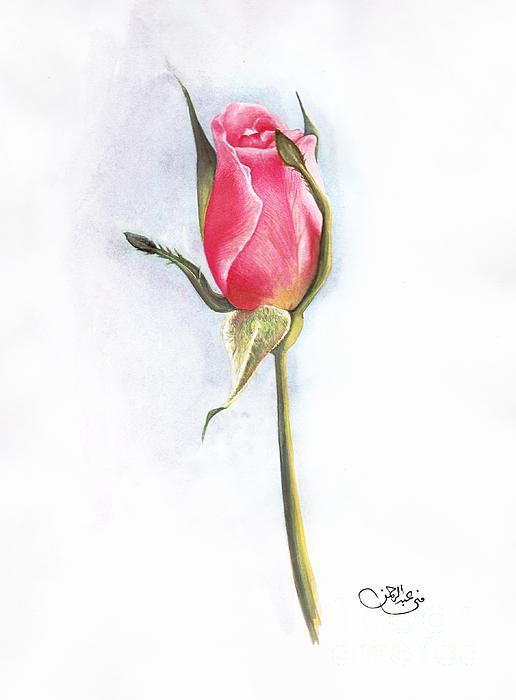 Pink Painting - Pink Rose by Muna Abdurrahman