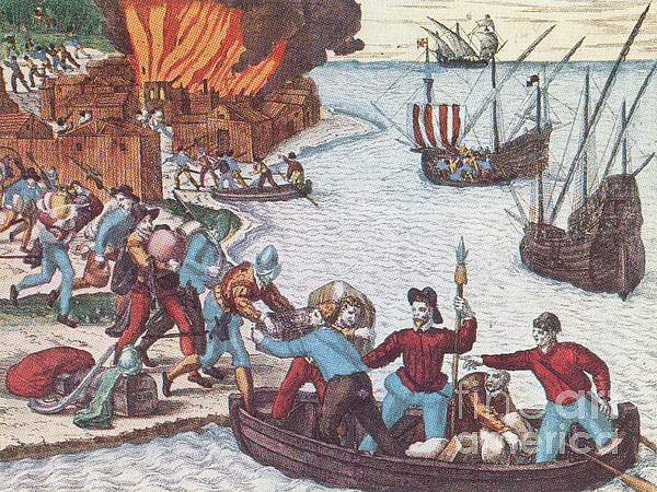 History  - Pirates Burn Havana, 1555 by Photo Researchers