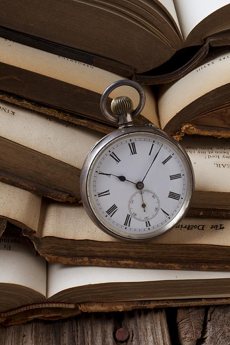 Pocket Watch Photograph - Pocket Watch On Pile Of Books by Garry Gay