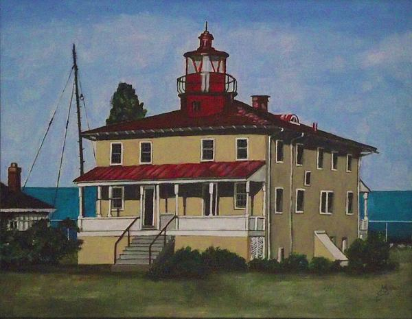 Acrylic Painting Painting - Point Lookout Lighthouse Md by Kim Selig