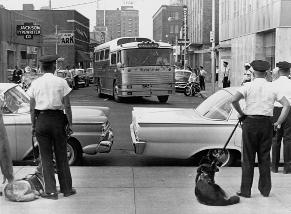 History Photograph - Policemen Watch As Freedom Riders by Everett